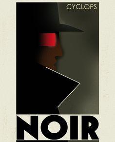 Cyclops Noir by Grégoire Guillemin Modern Graphic Design, Graphic Design Typography, Retro Design, Graphic Art, Poster Art, Kunst Poster, Art Deco Posters, Art Deco Design, Vintage Travel Posters