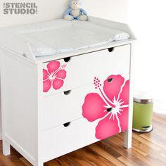 Stencils for walls Simple Hibiscus Flower by TheStencilStudio, £30.00