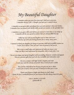 Wonderful Daughter Poem | ... Inspirational Christian Poetry - Poems - My Beautiful Daughter