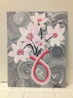 Made this last night... thinking about adding a quote or bible verse still  #breastcancerawareness #canvas #quote