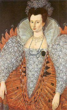 Portrait of Mary Fitton, Lady in Waiting to Elizabeth I Elizabethan Fashion, Elizabethan Era, Elizabethan Clothing, Elizabethan Costume, Tudor Fashion, Victorian Fashion, Tudor History, British History, Dinastia Tudor