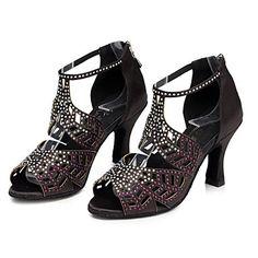 Mujer Zapatos de Baile Latino   Zapatos de Jazz   Zapatos de Salsa Satén  Sandalia   Tacones Alto Pedrería   Cremallera   Poroso Tacón Personalizado  ... 6ff21a8894d