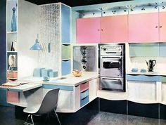 Pink ~ Blue ~ Aqua & White MCM Kitchen