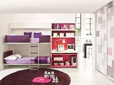 Red and Purple Colors Decorating in Modern Kids Bedroom Furniture with Double Bunk Beds with Stairs and Storage