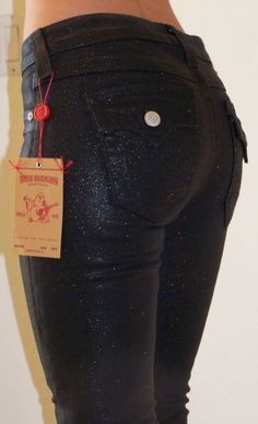TRUE RELIGION Women's Size 26 Serena Glitter Black Coated Jeans $240 #TrueReligion #SlimSkinny