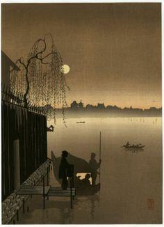 Shoda Koho Japanese Woodblock Print Evening Cool Sepia Varient RARE   eBay