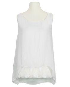 Damen Seidentop mit Spitze, weiss von Spaziodonna   meinkleidchen Damenmode aus Italien Basic Tank Top, Shirts, Tank Tops, Women, Fashion, Sequins, Lace, Italy, Fashion Women