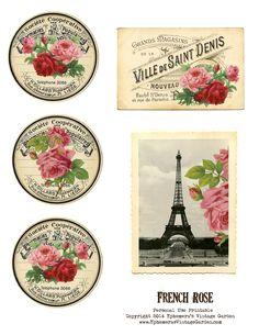 Ephemera's Vintage Garden: Free Printable - French Rose Cards/Tags