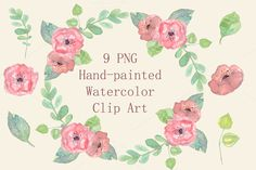 Watercolor Pastel Floral Clip Art - Objects