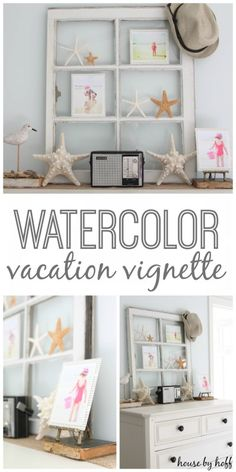 watercolor vacation vignette  {no paint brush required!}