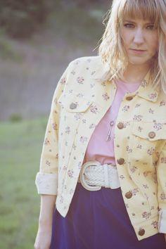 vintage floral yellow jean jacket womens by secondseasonvintage, $32.00