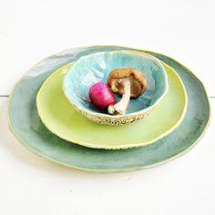 Handmade dinnerware Organic Soul 3 pc set $95