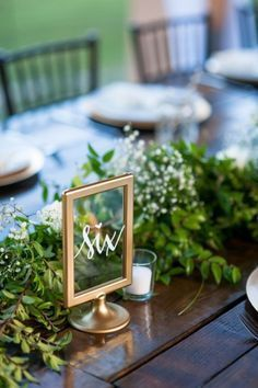 Rustic Glam Gold Sign Table Number | Ikea, Tablescape, Farm Table, Greenery, Garland