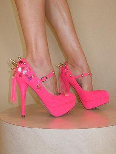 SpikesByG - Neon Pink Spiked High Heel Platform Shoes - $90.00