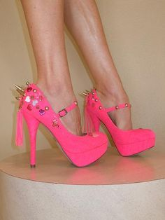 SpikesByG - Neon Pink Spiked High Heel Platform Shoes - $90.00 - stop it.