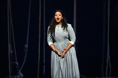 South African soprano Pretty Yende performs in Italian composer Gaetano Donizetti's opera 'Lucia Di Lammermoor' at the Bastille Opera House in Paris on Octob...