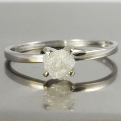 14K White Gold Ring with White Rough Diamond - Snow White Natural Diamond - Uncut, Unfinished, Diamond - Engagement, Solitaire Ring