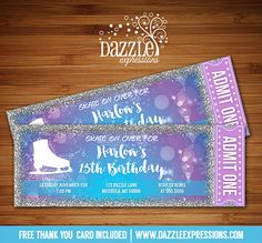 Printable Glitter Ice Skating Ticket Birthday Invitation | Girls or Teen or Teenager Winter Party Idea | Snowflake | Frozen Inspired | Purple, Blue and Silver Sparkle Glitter | Figure Ice Skate Party Ticket | Can be made for any type of event | FREE thank you card included | Printable Matching Party Package Decorations Available! Banner | Signs | Labels | Favor Tags | Water Bottle Labels and more! www.dazzleexpressions.com
