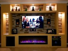20 Modern Fireplaces That You Can Install Yourself - Modern Blaze Living Room Wall Units, Living Room Furniture, Living Room Designs, Living Room Decor, Fireplace Tv Wall, Living Room With Fireplace, Fireplace Design, Tv Unit Interior Design, Tv Wall Design