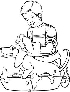 Dog Happy Bathed Coloring Page Coloring Pages To Print, Adult Coloring Pages, Coloring Pages For Kids, Coloring Sheets, Coloring Books, Kids Coloring, Cat And Dog Drawing, Line Drawing, Dog Drawings