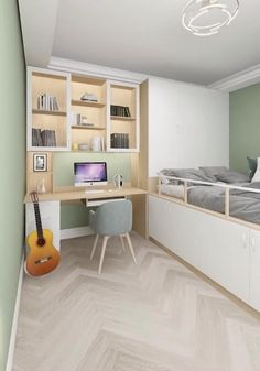 Small Bedroom Interior, Bedroom Decor For Small Rooms, Small House Interior Design, Small Bedroom Designs, Bedroom Furniture Design, Modern Bedroom Design, Room Ideas Bedroom, Home Room Design, Decorating Small Rooms