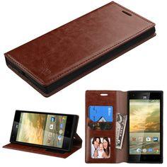MYBAT Flip Stand Leather Wallet ZTE Warp Elite Case - Brown