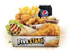 KFC Australia Five Stars-Box - 1 Piece Original Recipe Chicken, 1 Grilled Wrap, 3 Wicked Wings, 1 Snack Popcorn Chicken, 1 Regular chips, 1 Regular Pepsi Max, 1 Regular Mashed Potato & Gravy.