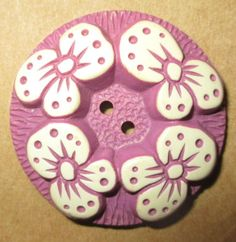 ANTIQUE VINTAGE BUFFED CELLULOID FLOWER BUTTON - DUSTY ROSE PINK - MED. SZ