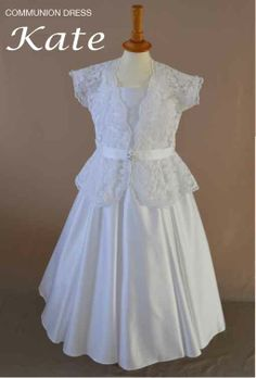 Kate - Spaghetti strap First Communion dress, with duchess satin bodice and full circle skirt, comes with a short sleeve lace jacket with satin ribbon waistband and diamonte button. Available to pre order from November 2013 Register to view our 2014 First Communion Dress Collection http://www.firstholycommunionday.co.uk/2014-first-communion-dresses-589-c.asp