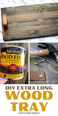 This DIY Wood Tray with leather handles is extra-long and needs no building experience. Use for home decor or serving a charcuterie board full of delicious food. See the tutorial on TodaysCreativeLife.com Serving Tray Wood, Wood Tray, Cool Diy Projects, Diy Crafts For Kids, Yarn Wall Hanging, Wood Slats, Boho Diy, Charcuterie Board, Leather Handle