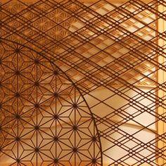 "Beautiful world of combination. traditional Japanese craft of ""Wood""… Japanese Modern, Japanese Interior, Japanese Design, Japanese Art, Japanese Style, Glass Brick, Arabic Pattern, Small Wood Projects, Oriental Pattern"