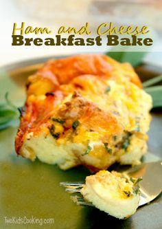 Kids Cooking Recipe: Ham & Cheese Breakfast Bake | Two Kids Cooking and More