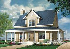 Dessins Drummond plan no. W3504. Un style de campagne pour une grande maison champêtre! À voir (trois chambres) : http://www.dessinsdrummond.com/detail-plan-de-maison/info/1001712.html #plandemaison #maisonchampetre #dessinsdrummond