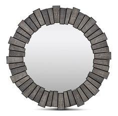 "Grey Faux Shagreen Mirror 34""d"