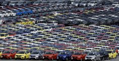 Ready to roll: Newly manufactured Honda cars await export at a port in Yokohama.