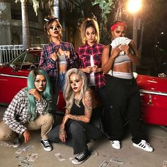 Ain't nothin' but a gangsta Parrrrtyyyy    Check out our YouTube tutorials @chrisspy @iluvsarahii @lora_arellano @christendominique and if you recreate our looks tag us in your #gangstersquad photo!