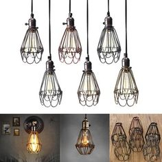 Vintage Pendant Trouble Light Bulb Guard Cage Ceiling Hanging Lampshade Fixture For Indoor Lighting