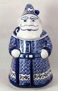 Polish pottery Santa cookie jar