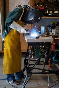 Standing while welding.