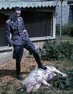 "Luftwaffe ace, Major Heinrich Gerlach with ""friend"""