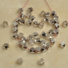 44-PCS-KITE-SPACERS-FINDINGS-BEADS-4X4MM-925-SILVER-PLATED-OVER-SOLID-COPPER