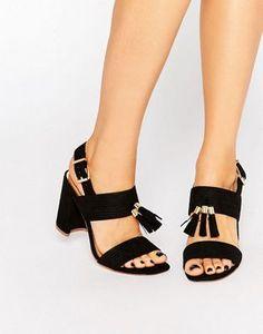 Miss KG Elaina Black Tassel Block Heeled Sandals
