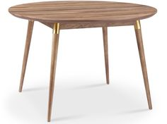 "The Victory Round Dining Table is simple and strong while being absolutely gorgeous! It also has a gold tube accent which adds to the appeal. - Made of MDF with Walnut Veneer top 46""w x 46""d x 30""h"