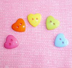 15x14mm Heart buttons x 50 #craft #buttons