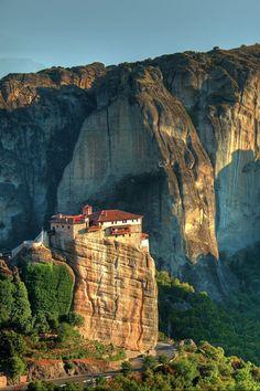 Meteora is a group of six monasteries in Greece that were built on sandstone rock pillars.
