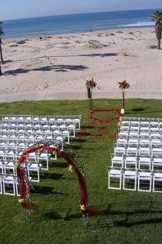 Presidential Lawn at Embassy Suites Mandalay Beach Resort, Oxnard, California. Beach Wedding Ceremony