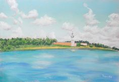 The landscape with the temple on the lake. Пейзаж с храмом на озере. A large expanse of water and sky would look good in the interior.