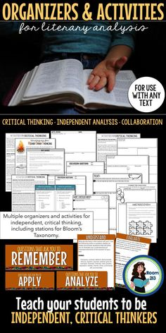 Lots of higher order thinking activities to get your students thinking about any text you study.