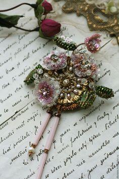 "Купить бронь для Е. Брошь ""Цветы"" - комбинированный, цветы, вышивка, ручная работа, вышивка ручная Beaded Brooch, Beaded Earrings, Beaded Jewelry, Jewellery, Handmade Beads, Handmade Flowers, Handmade Jewelry, Tambour Embroidery, Embroidery Jewelry"