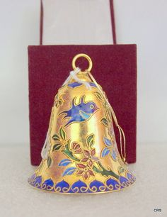 Cloisonné bell ornament  maroon velvet box by WillowsandMagnolias